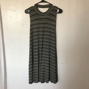 Green, White, and Black striped high cut dress